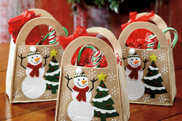 snowman felt bags christmas wrapping gifts kids