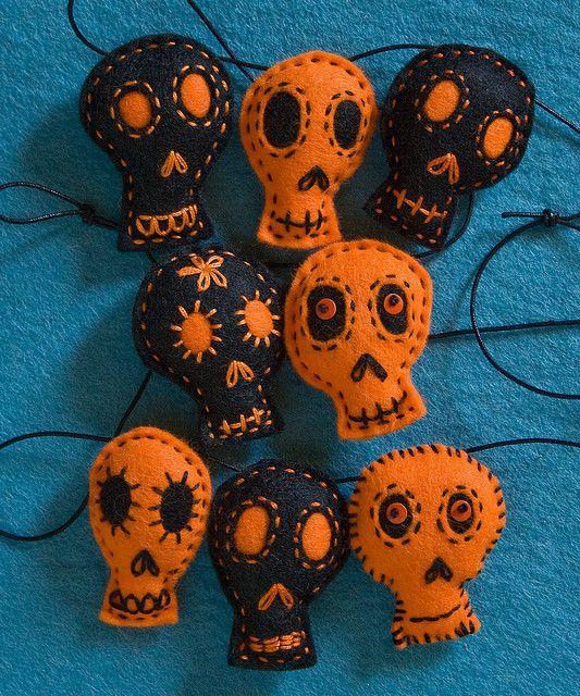 calabaza calavera fieltro decoracion otoño halloween - felt pumpkin skull autumn fall decoration