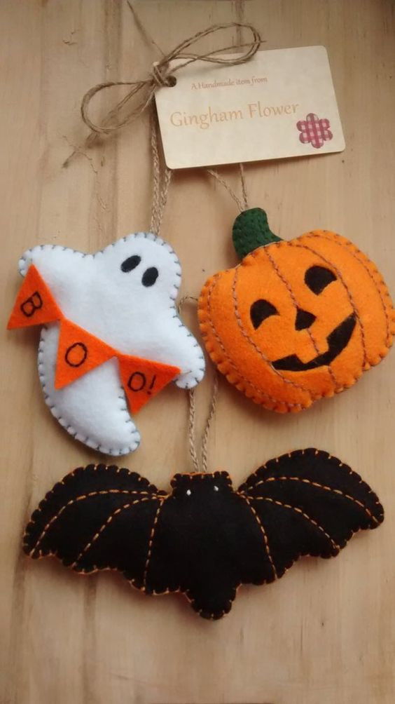 calabaza fieltro decoracion otoño halloween - felt pumpkin autumn fall decoration