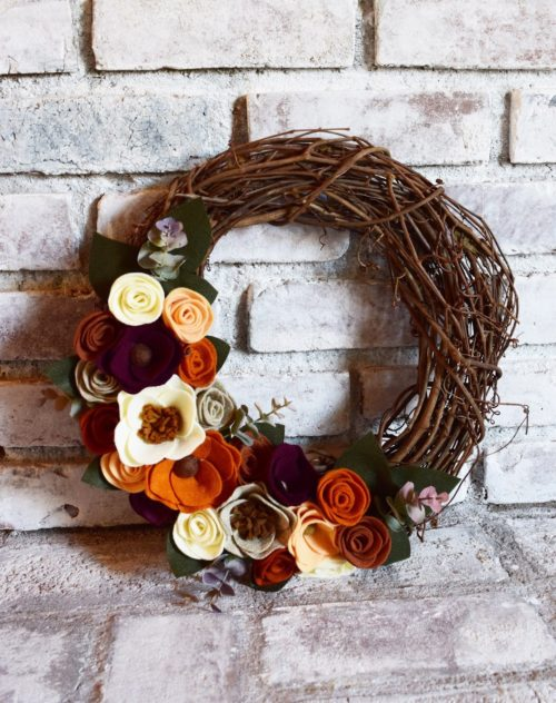 corona fieltro otoño decoracion - fall felt wreath decoration