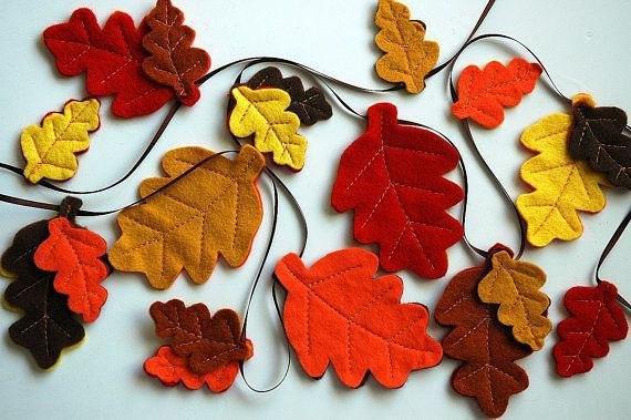 guirnalda hojas fieltro decoracion otoño halloween - felt leaf garland autumn fall decoration