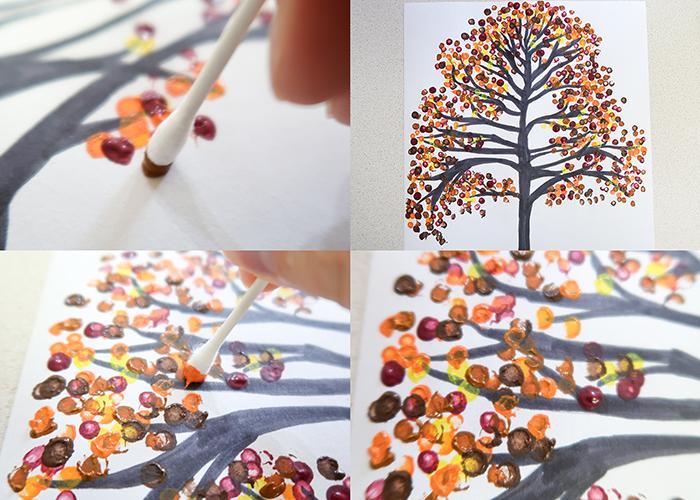 pintar paisaje otoño con bastoncillos - actividades para niños - fall tree q tip