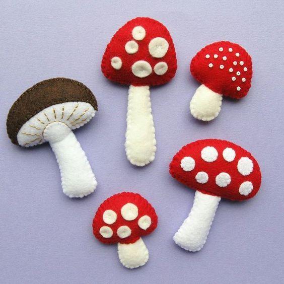 setas fieltro decoracion otoño halloween - felt mushroom autumn fall decoration