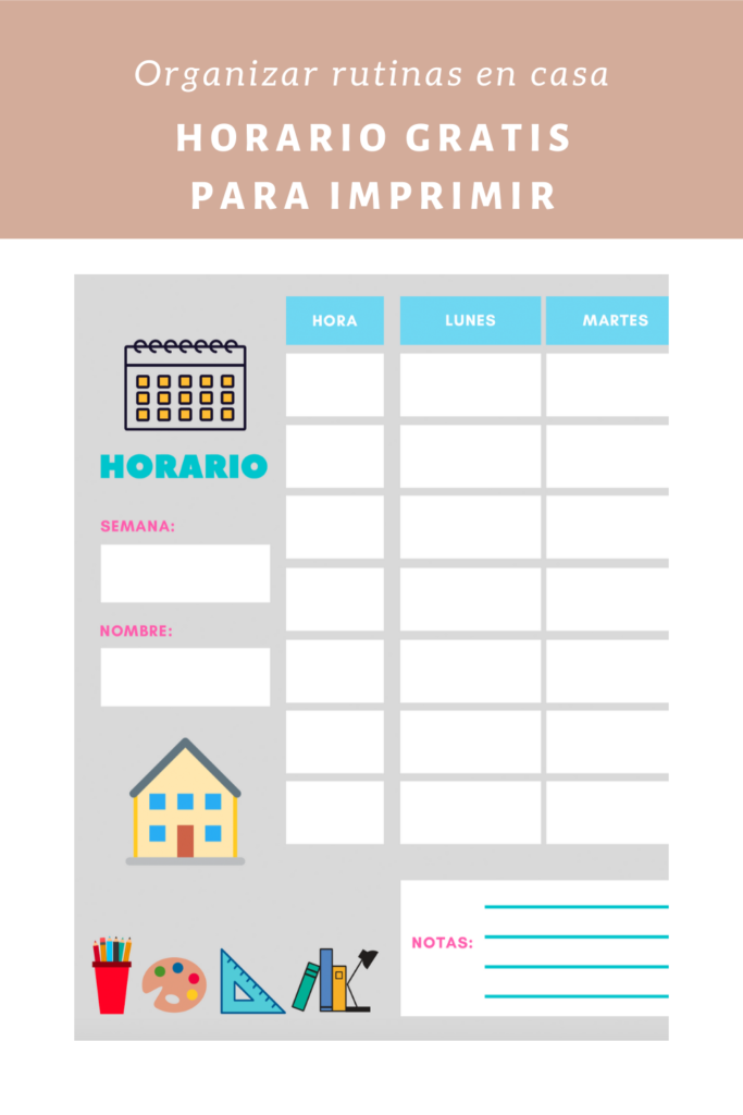 Horario gratis para imprimir organizar rutinas niños en casa