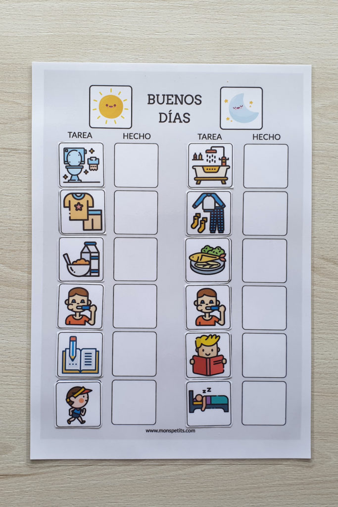 Plantillas de rutinas para niños para descargar e imprimir gratis 3