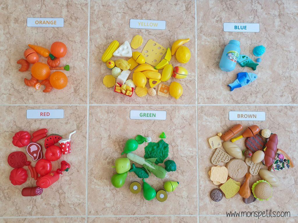 Descargable - Printable - Colour labels - Clasificar comida por colores