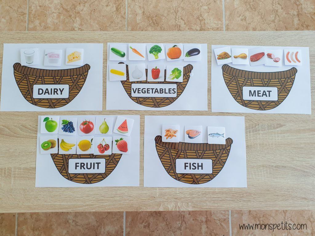 Descargable - Printable - Food sorting in baskets - Clasificar comida