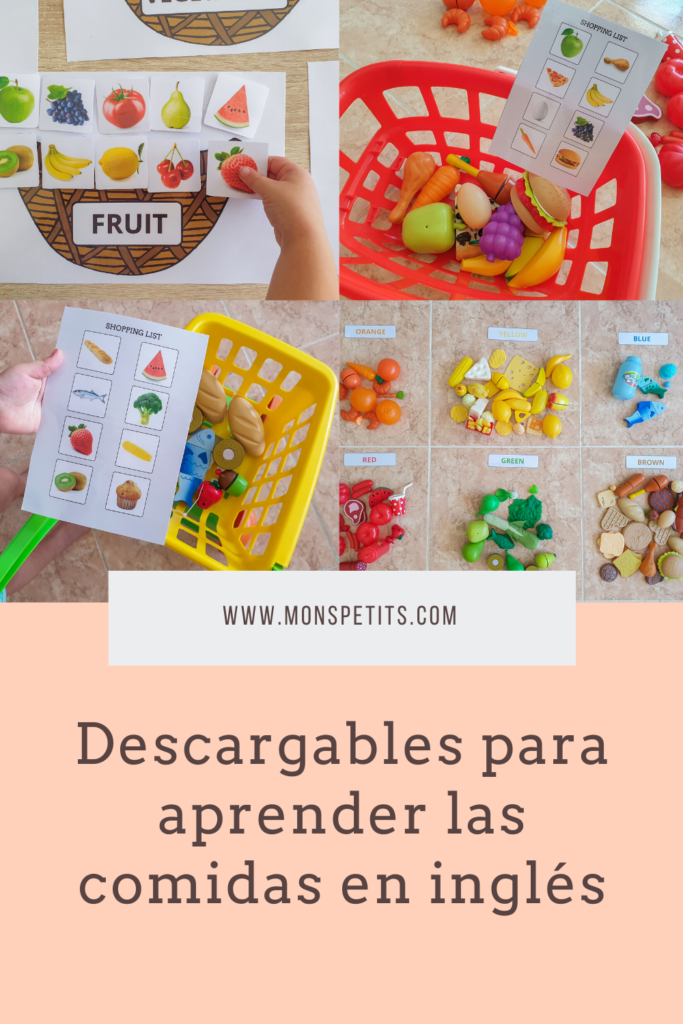 Descargables para aprender las comidas en inglés - Printables to learn foods in English