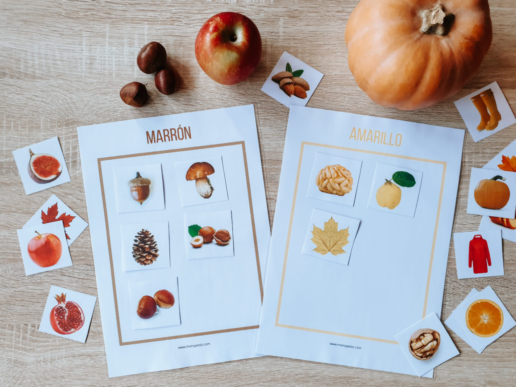 Actividades de otoño descargables gratis pdf - Clasificando por colores