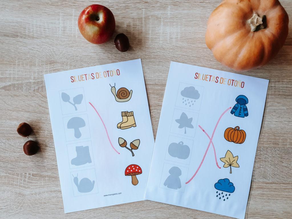 Actividades de otoño descargables gratis pdf - Las siluetas