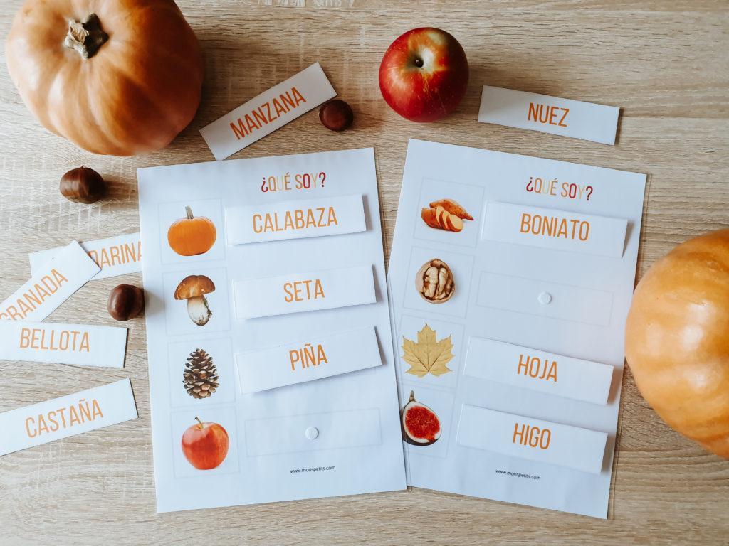 Actividades de otoño descargables gratis pdf - Palabras de otoño