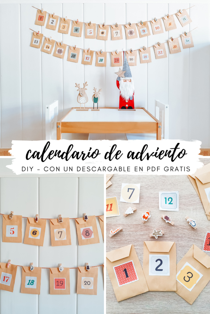 Calendario de Adviento DIY sobres colgados - Homemade Advent Calendar - Imprimible gratis pdf - Navidad - Christmas