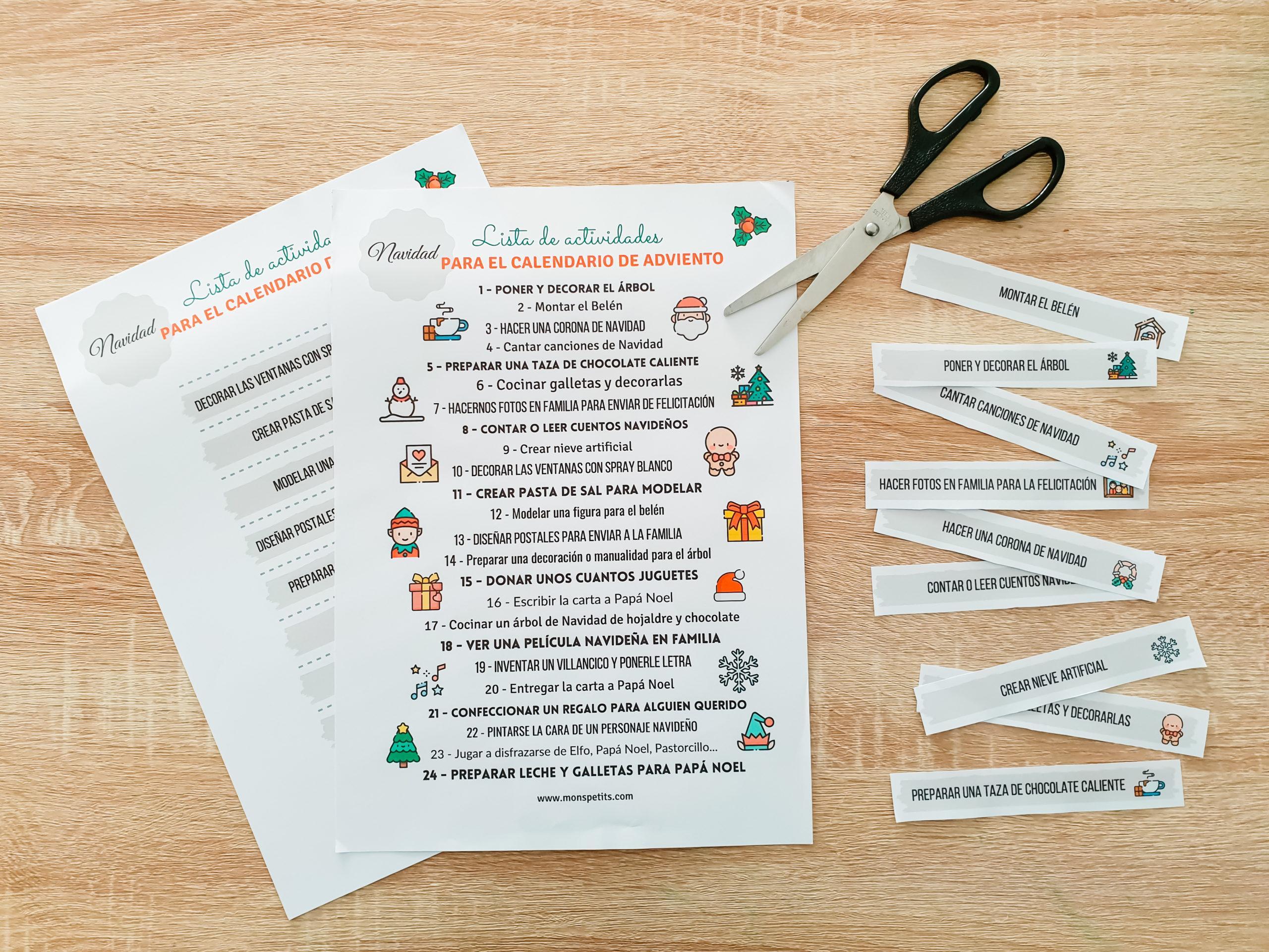 Calendario de Adviento - Ideas de actividades en casa - DIY Homemade - Advent Calendar ideas - Navidad Christmas