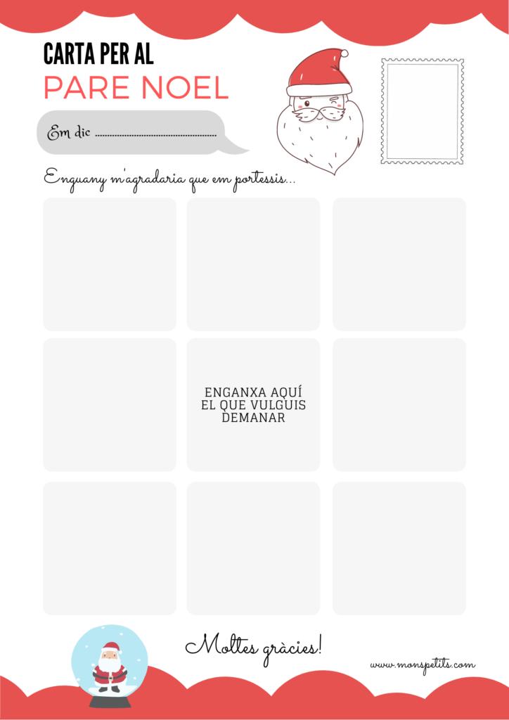 Carta Pare Noel per descarregar i imprimir gratis - Carta per retallar i enganxar - Catala