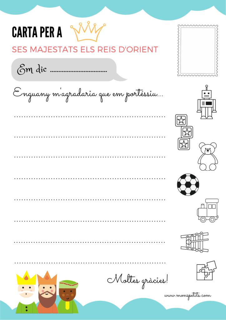 Carta Reis Orient per descarregar i imprimir gratis - Carta per escriure - Catala