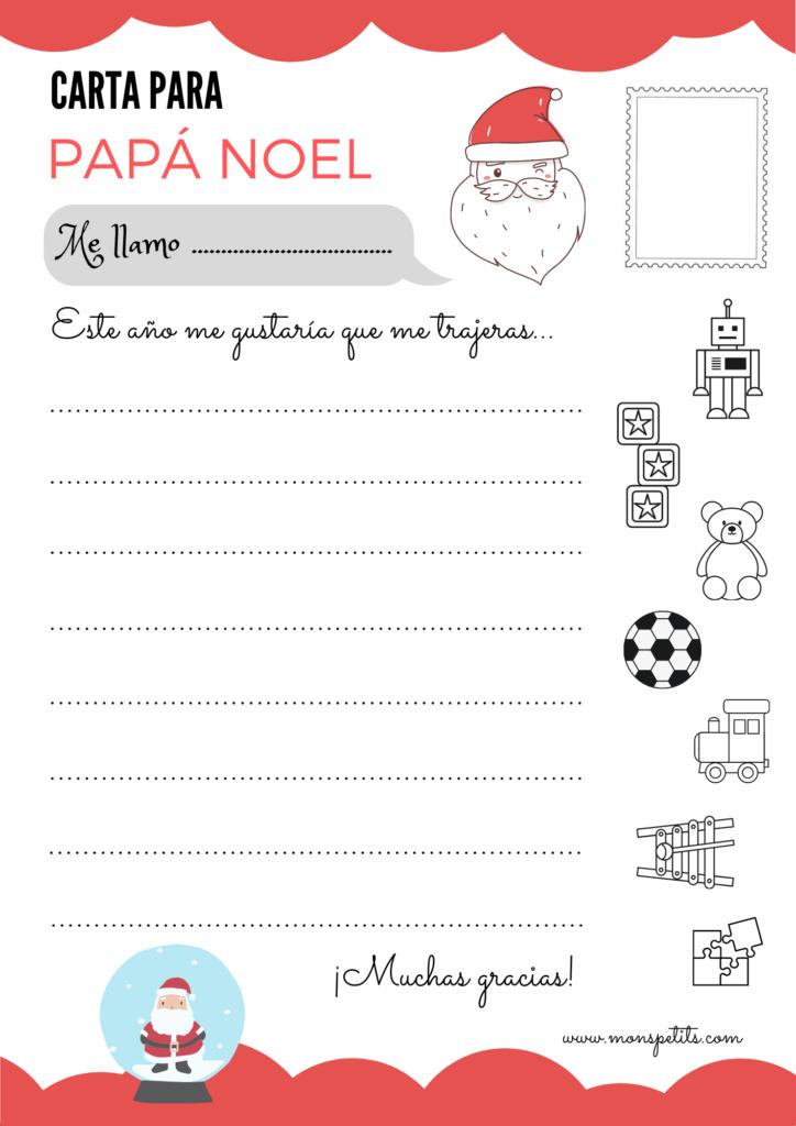Carta para Papá Noel para descargar e imprimir en castellano gratis