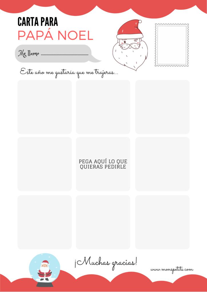Carta para Papá Noel para descargar e imprimir en castellano gratis - Recortar y pegar