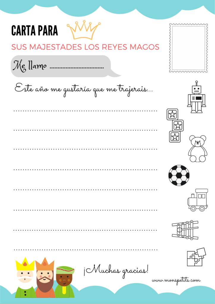 Carta para los Reyes Magos para descargar e imprimir en castellano gratis