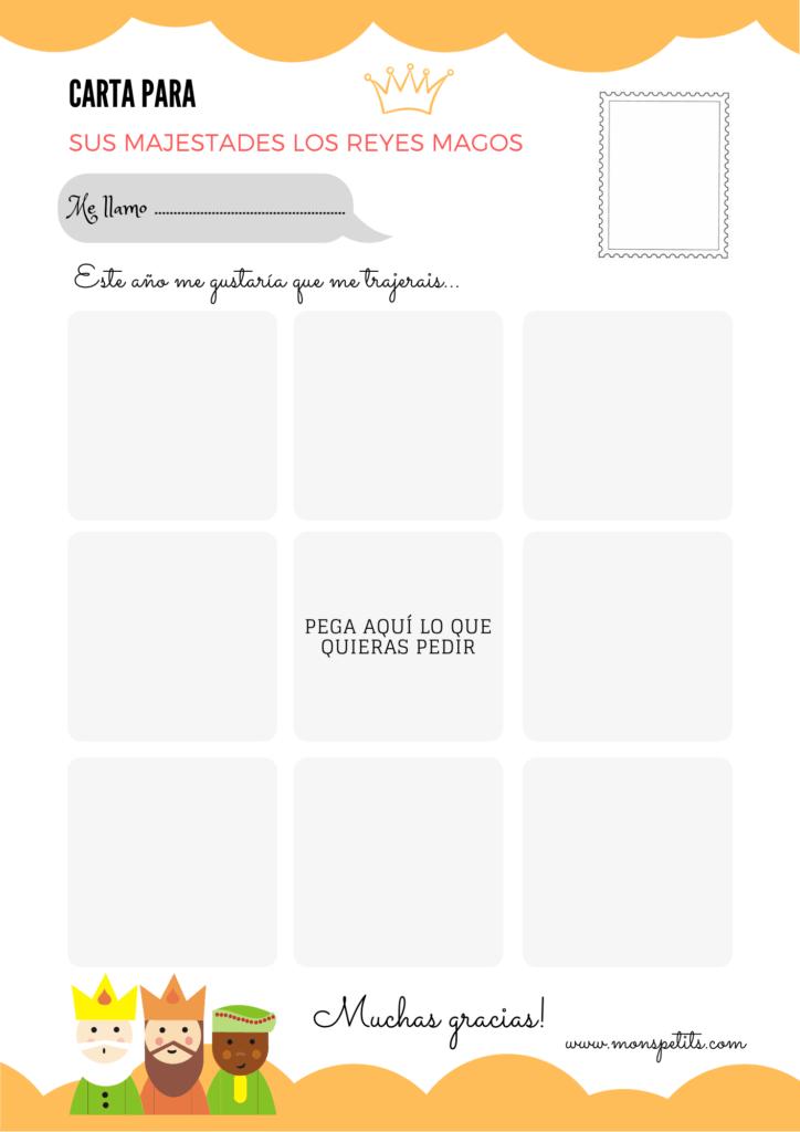 Carta para los Reyes Magos para descargar e imprimir en castellano gratis - Para Recortar y Pegar