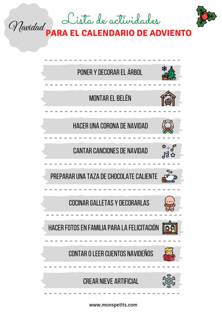 Lista de ideas y actividades para el calendario de adviento Pdf Descargable Gratis