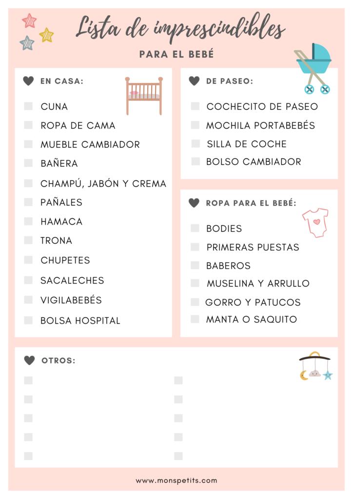 Checklist Imprescindibles para la llegada del bebe - Lista nacimiento - Baby Registry - Rosa