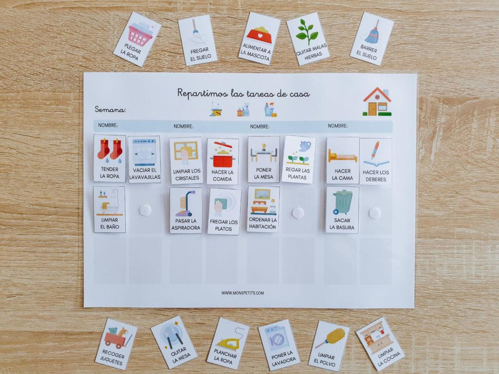 Pack descargable gratis de habitos y rutinas para niños - by monspetits.com - Tareas de casa