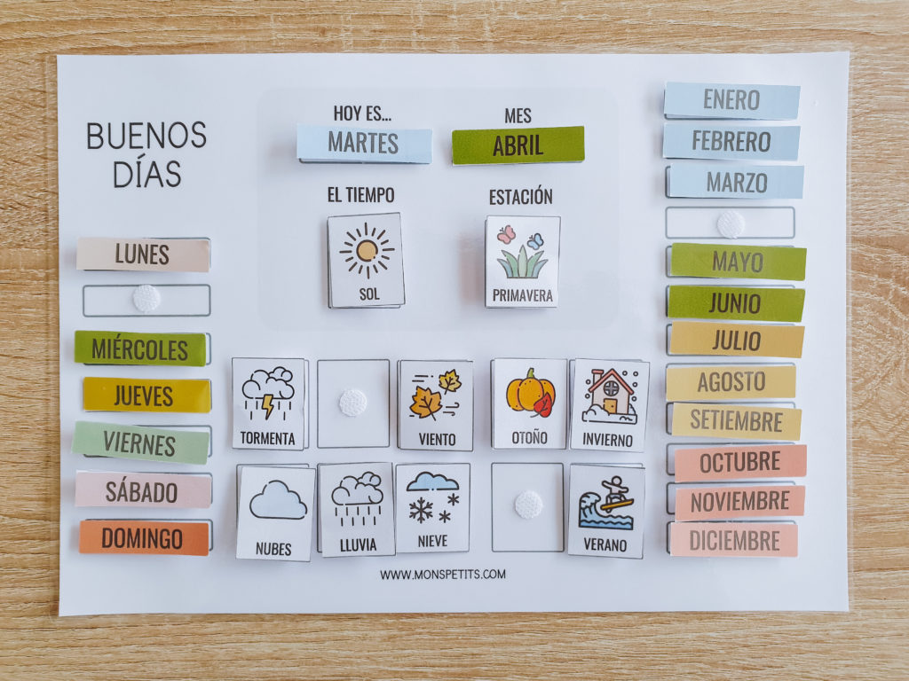 Pack descargable gratis de habitos y rutinas para niños - by monspetits.com - calendario buenos dias